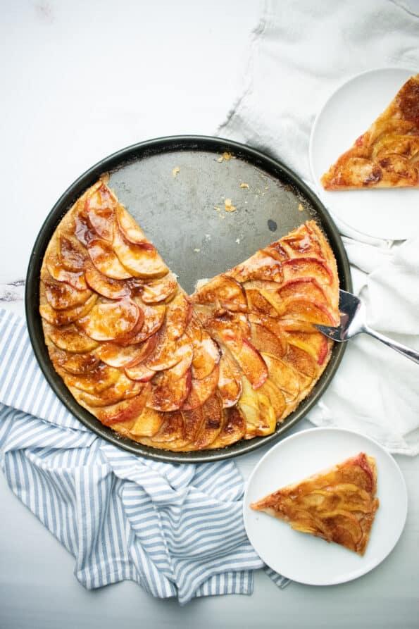circular tart on white background