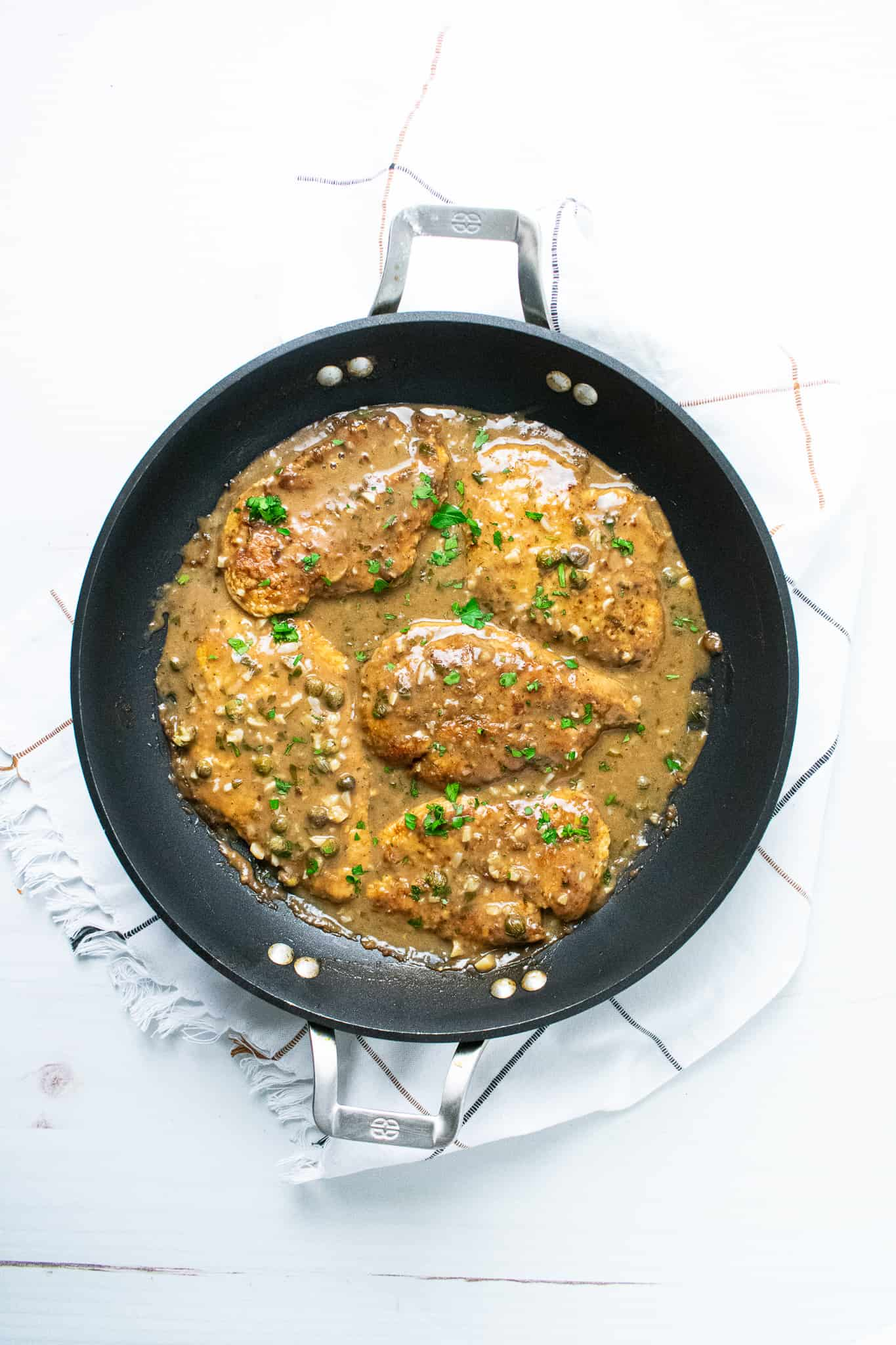 chicken piccata in pan