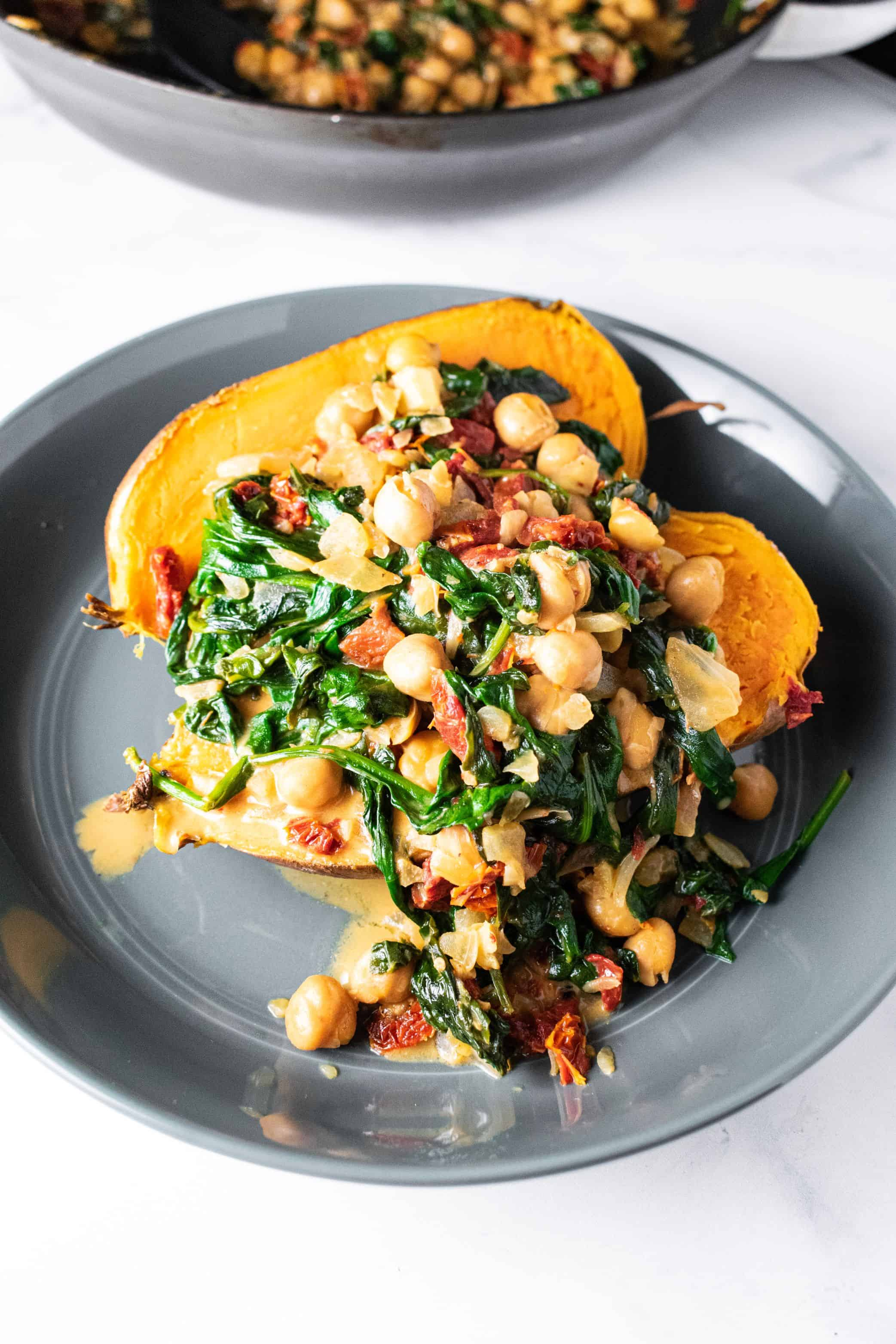 Sweet potato with spinach