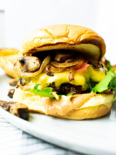 cheeseburger on a gray plate