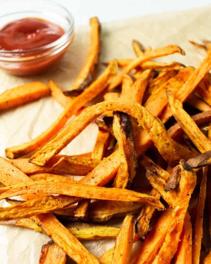 sweet potato fries on paper