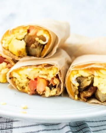 breakfast burrito on a plate