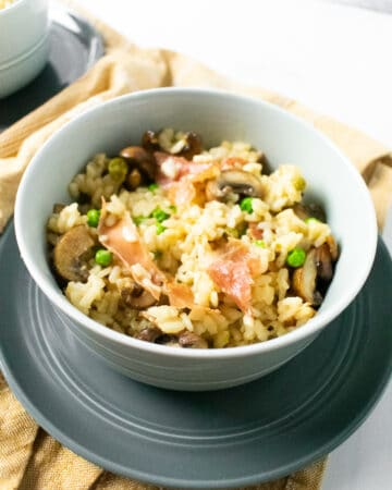 risotto in a gray bowl