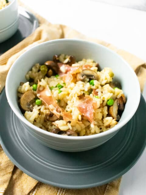 risotto in a gray bowl