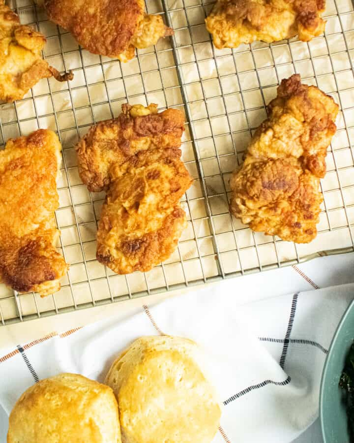 fried chicken on a rack