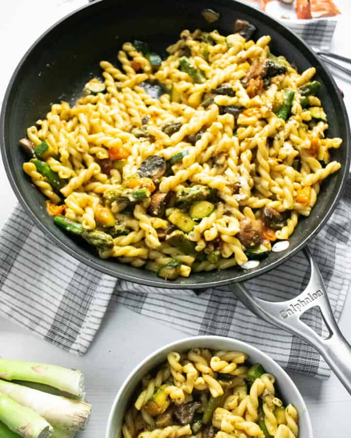 pasta and vegetables in a skillet