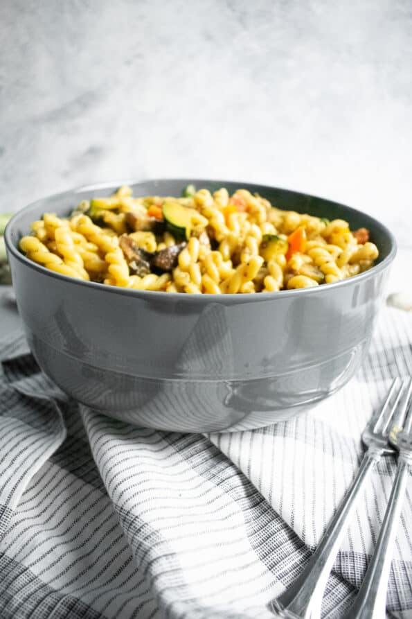 pasta and vegetables in a bowl