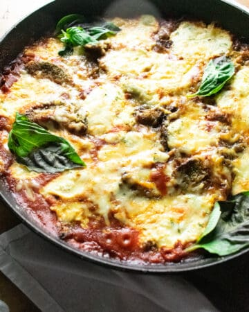 eggplant baked in a skillet